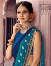 photo of Sky Blue Traditional Sangeet Wear Bandhej Print Chiffon Saree