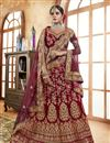 image of Designer Lehengas Choli In Maroon Velvet Fabric With Embroidery Work
