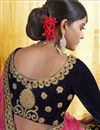 photo of Velvet Fabric Festive Wear Lehenga In Navy Blue With Embroidery Work