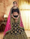 image of Velvet Fabric Festive Wear Lehenga In Navy Blue With Embroidery Work