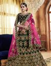 image of Green Embroidery Work On Party Wear Velvet Fabric Lehenga