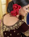 photo of Embroidery Work On Brown Party Wear Velvet Fabric Lehenga