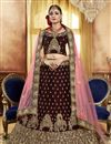 image of Embroidery Work On Brown Party Wear Velvet Fabric Lehenga