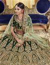 photo of Velvet Fabric Dark Green Designer Embroidery Work On Lehenga