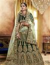 image of Dark Green Velvet Fabric Fancy Embroidery Work Wedding Wear Lehenga