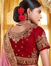 photo of Red Embroidery Work On Party Wear Velvet Fabric Lehenga