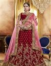 image of Red Embroidery Work On Party Wear Velvet Fabric Lehenga