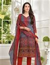 image of Karishma Kapoor Maroon Satin Fabric Straight Cut Printed Salwar Kameez