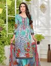 image of Karishma Kapoor Satin Fabric Light Cyan Printed Salwar Suit