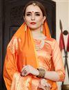 photo of Sangeet Wear Designer Weaving Work Saree In Orange Art Silk