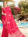 image of Fancy Sangeet Wear Art Silk Pink Saree With Weaving Work