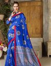 image of Fancy Blue Traditional Designer Saree In Art Silk With Weaving Work