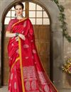 image of Fancy Art Silk Traditional Designer Saree In Red With Weaving Work