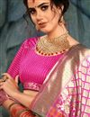 photo of Fancy Party Style Designer Magenta Color Saree In Art Silk With Weaving Work
