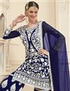 photo of Eid Special Navy Blue Designer Embroidered Sharara Palazzo Suit In Georgette Fabric