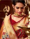 photo of Function Wear Red Designer Fancy Saree In Art Silk With Weaving Work