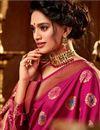 photo of Wedding Function Wear Art Silk Weaving Work Saree In Magenta Color