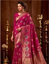 image of Magenta Color Art Silk Wedding Function Wear Weaving Work Saree