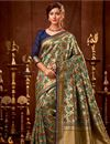 image of Function Wear Beige Art Silk Designer Fancy Saree With Weaving Work