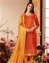 image of Cotton Silk Fabric Orange Color Occasion Wear Straight Cut Suit With Embroidery With Banarasi Silk Dupatta