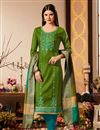 image of Green Color Festive Wear Cotton Silk Fabric Straight Cut Salwar Kameez With Embroidery Work With Banarasi Silk Dupatta