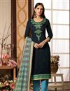 image of Cotton Silk Fabric Straight Cut Salwar Kameez In Navy Blue Color With Embroidery Work With Banarasi Silk Dupatta