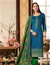 image of Sky Blue Color Cotton Silk Fabric Long Straight Cut Suit With Embroidery Work With Banarasi Silk Dupatta