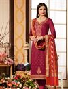 image of Cotton Silk Fabric Dark Pink Color Occasion Wear Straight Cut Suit With Embroidery With Banarasi Silk Dupatta