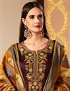 photo of Cotton Silk Fabric Wine Color Embroidered Function Wear Straight Cut Suit With Banarasi Silk Dupatta