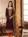image of Cotton Silk Fabric Straight Cut Salwar Kameez In Wine Color With Embroidery Work With Banarasi Silk Dupatta