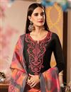 photo of Black Color Cotton Silk Fabric Long Straight Cut Suit With Embroidery Work With Banarasi Silk Dupatta
