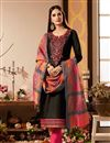 image of Black Color Cotton Silk Fabric Long Straight Cut Suit With Embroidery Work With Banarasi Silk Dupatta