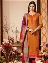 image of Orange Color Cotton Silk Fabric Party Wear Straight Cut Suit With Embroidery Work With Banarasi Silk Dupatta