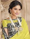 photo of Festive Wear Designer Yellow Printed Border Saree In Chiffon Fabric