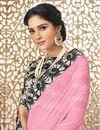 photo of Chiffon Festive Wear Designer Pink Plain Saree With Printed Border