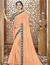 image of Orange Chiffon Festive Wear Designer Plain Saree With Printed Border