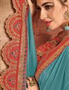 photo of Embroidery Work On Occasion Wear Saree In Light Blue Color With Designer Blouse