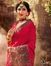 photo of Occasion Wear Art Silk Fabric Embroidered Saree In Rani Color With And Designer Blouse