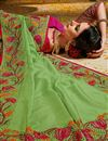 photo of Embroidered Art Silk Fabric Green Color Function Wear Saree With Marvelous Blouse