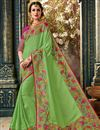 image of Embroidered Art Silk Fabric Green Color Function Wear Saree With Marvelous Blouse