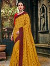 image of Art Silk Fabric Embroidered Golden Color Party Wear Saree With Attractive Blouse