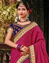 photo of Embroidery Work On Art Silk Fabric Dark Pink Color Festive Wear Saree With Designer Blouse