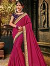 image of Embroidery Work On Art Silk Fabric Dark Pink Color Festive Wear Saree With Designer Blouse
