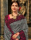 photo of Embroidered Grey Color Art Silk Fabric Occasion Wear Saree With Amazing Blouse