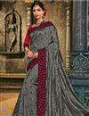 image of Embroidered Grey Color Art Silk Fabric Occasion Wear Saree With Amazing Blouse