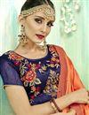 photo of Embroidered Designer Festive Wear Orange Fancy Fabric Saree
