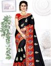 image of Black Color Art Silk Fabric Party Wear Saree With Embroidered Designs And Tempting Blouse