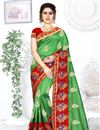 image of Green Color Party Wear Saree In Art Silk Fabric With Embroidery Work And Designer Blouse