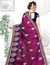 photo of Art Silk Fabric Purple Color Wedding Wear Saree With Embroidery Work And Beautiful Blouse