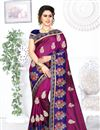 image of Art Silk Fabric Purple Color Wedding Wear Saree With Embroidery Work And Beautiful Blouse